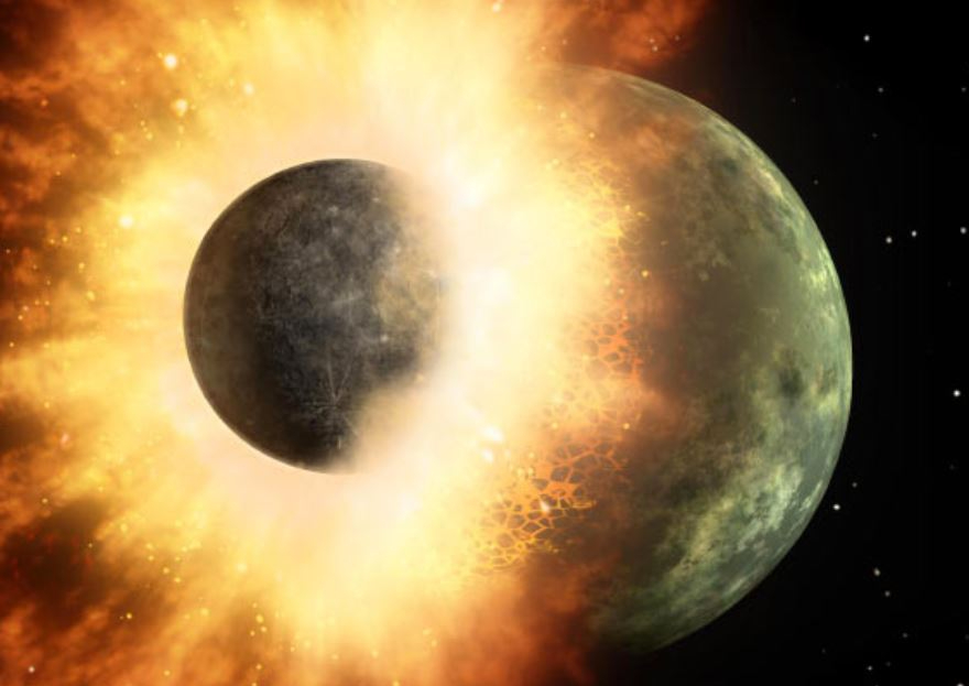 An illustration of the Moon-forming collision (an asteroid impacting Earth)