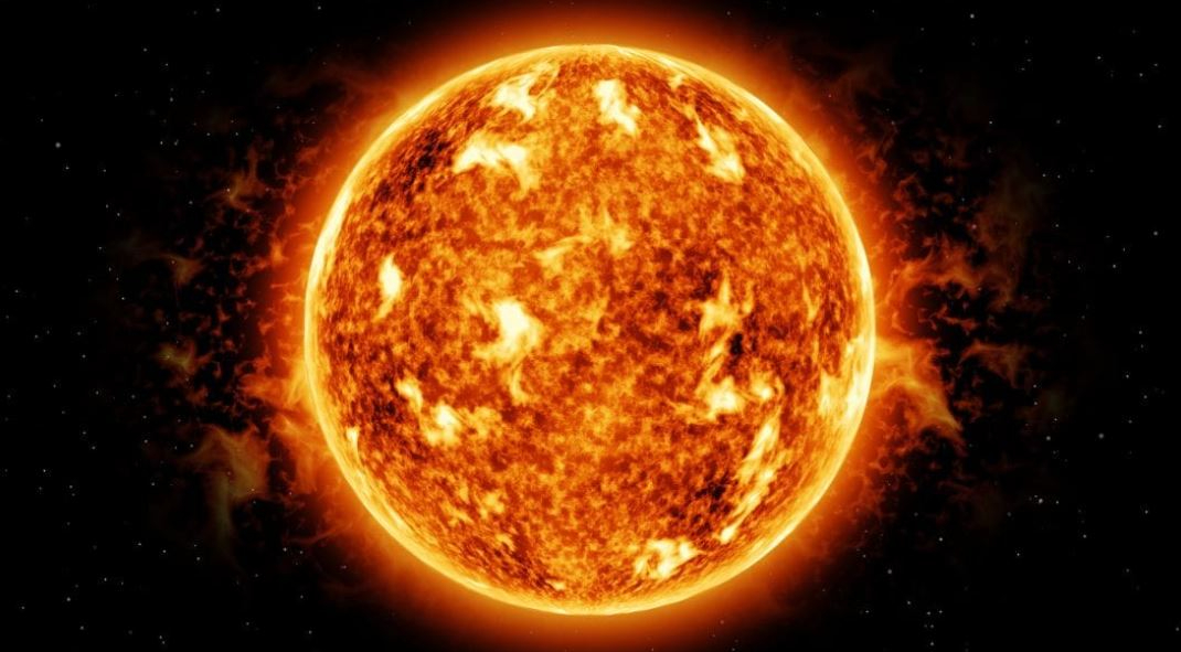 The sun as seen from a telescope