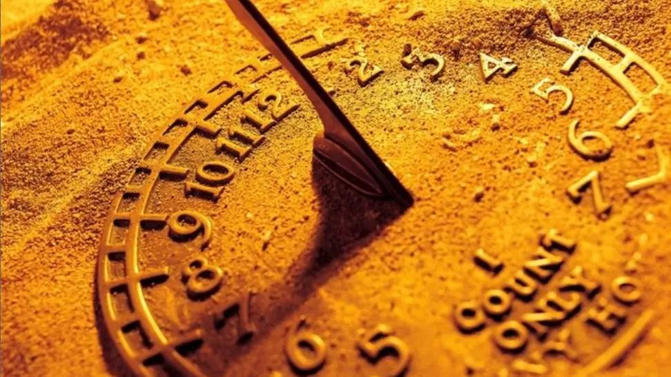 timekeeping sundial covered in send