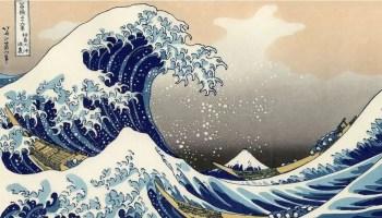 """The big wave off Kanagawa"" shows a tsunami off the coast of Japan."