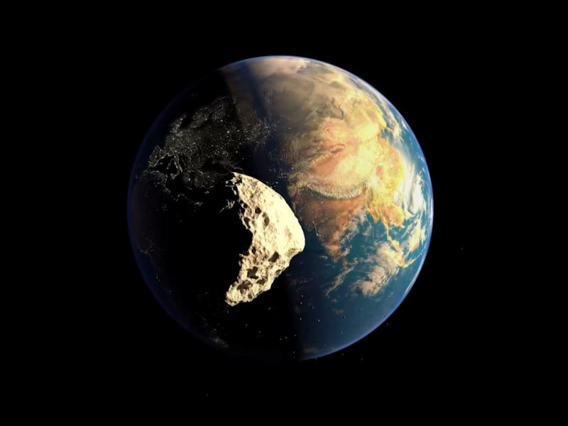 Large asteroid hit the earth.