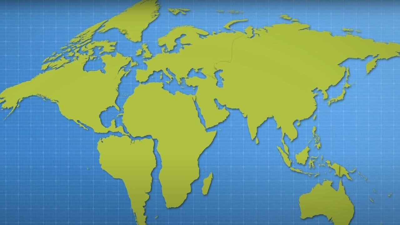 Tectonic plate movement map.