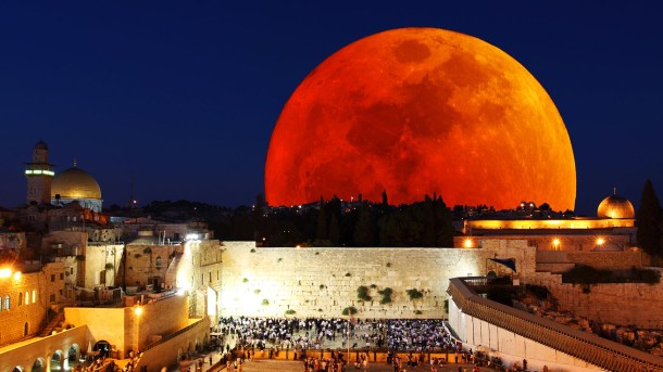 A large blood supermoon over the Western Wall in Jerusalem.
