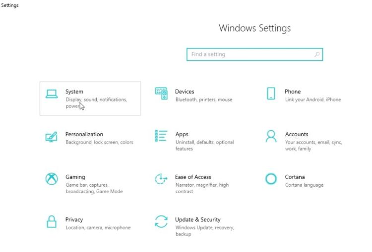 Access the Windows 10 settings.