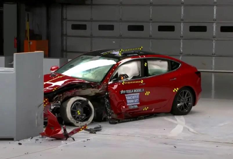 Tesla car crash test.