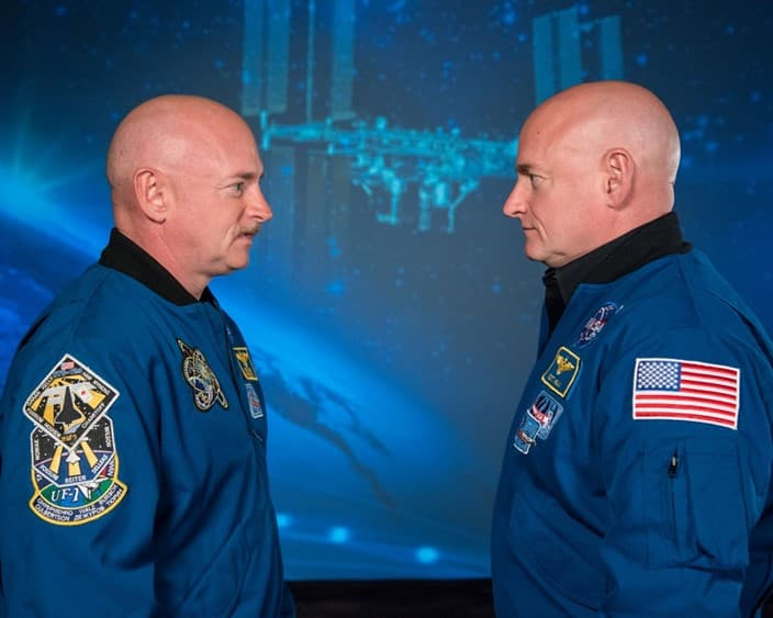 The Kelly brothers: Scott (right) grew a few inches and suffered from a buildup of fluid in his head due to microgravity.