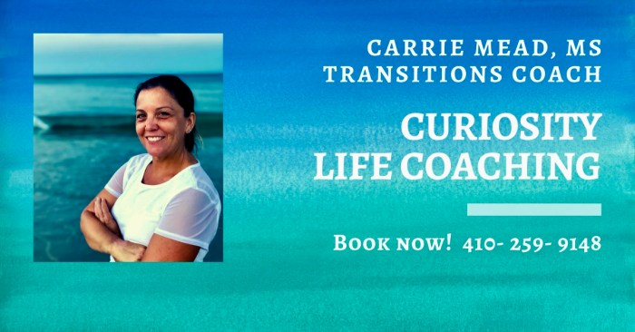 Carrie Mead, MS,  Certified Life Coach Baltimore, MD. Book Now.