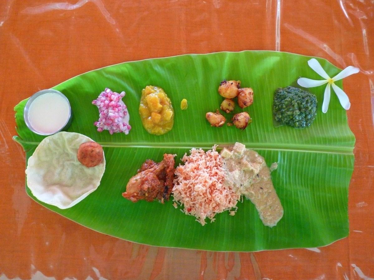 Indian food served on a banana leaf
