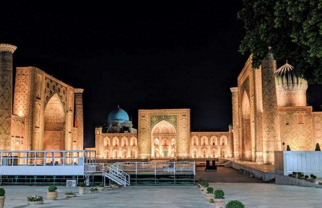Registan Samarkand at night