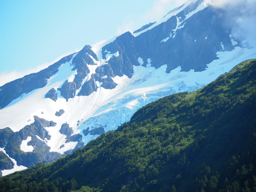 Alaska glacier hanging in the mountains