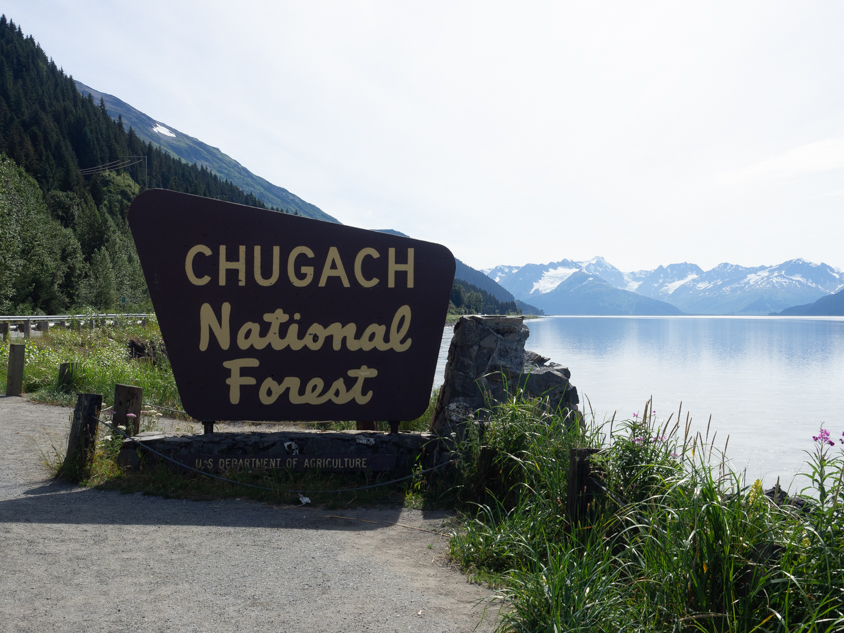 Chugach National Forest sign post