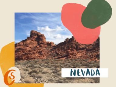 red rocks in a desert landscape