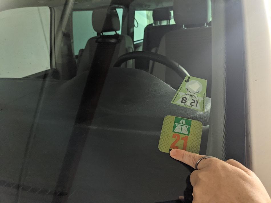 Switzerland Vignette sticker on car window