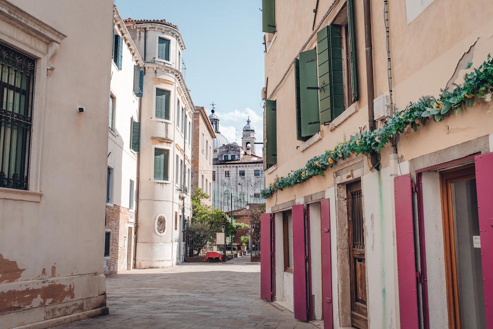 Dorsoduro Venice street view with church