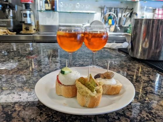 cicchetti and aperol spritz in Venice