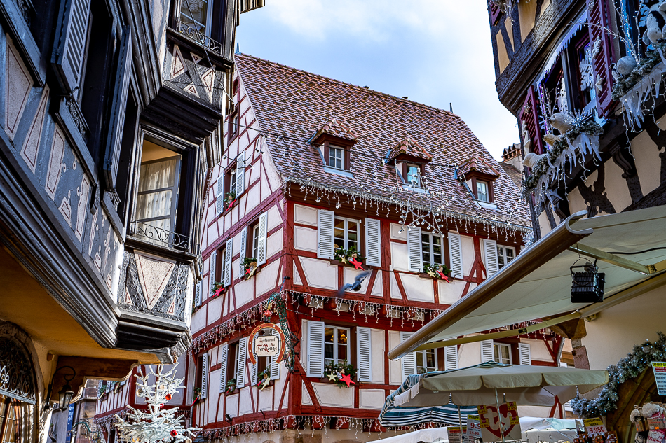 Colmar timber houses decorated for Christmas markets