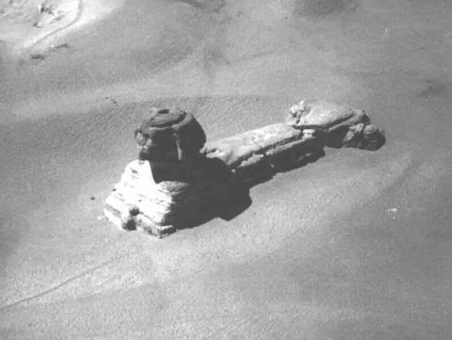 This is a rare image of the Sphinx taken from a hot air balloon, in the early 19th century. This is before excavation and restoration.