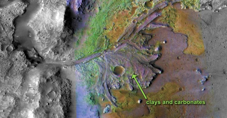 On ancient Mars, water carved channels and transported sediments to form fans and deltas within lake basins. Examination of spectral data acquired from orbit show that some of these sediments have minerals that indicate chemical alteration by water. Here in Jezero Crater delta, sediments contain clays and carbonates.