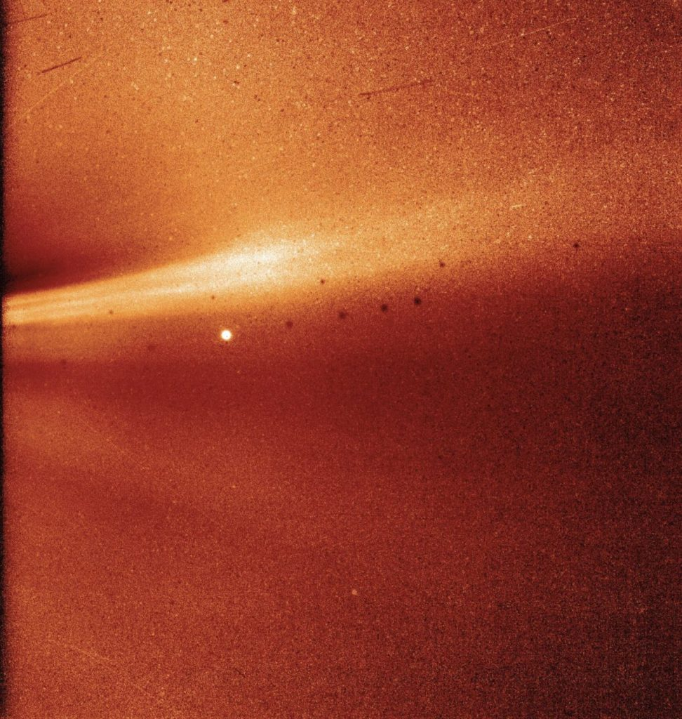 This image was captured by Parker's WISPR (Wide-field Imager for Solar Probe). Image Credit: NASA/Naval Research Laboratory/Parker Solar Probe.