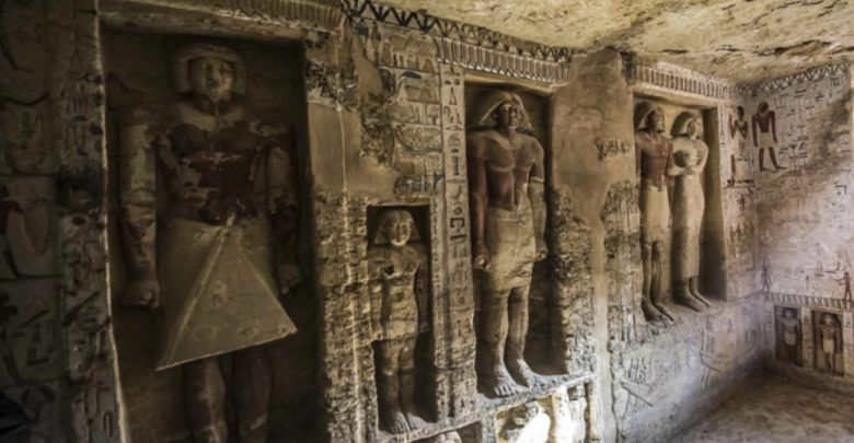 "This picture taken on December 15, 2018 shows a general view of a newly-discovered tomb belonging to the high priest ""Wahtye"" who served during the fifth dynasty reign of King Neferirkare (between 2500-2300 BC). Image Credit: AFP / Ahram Online."