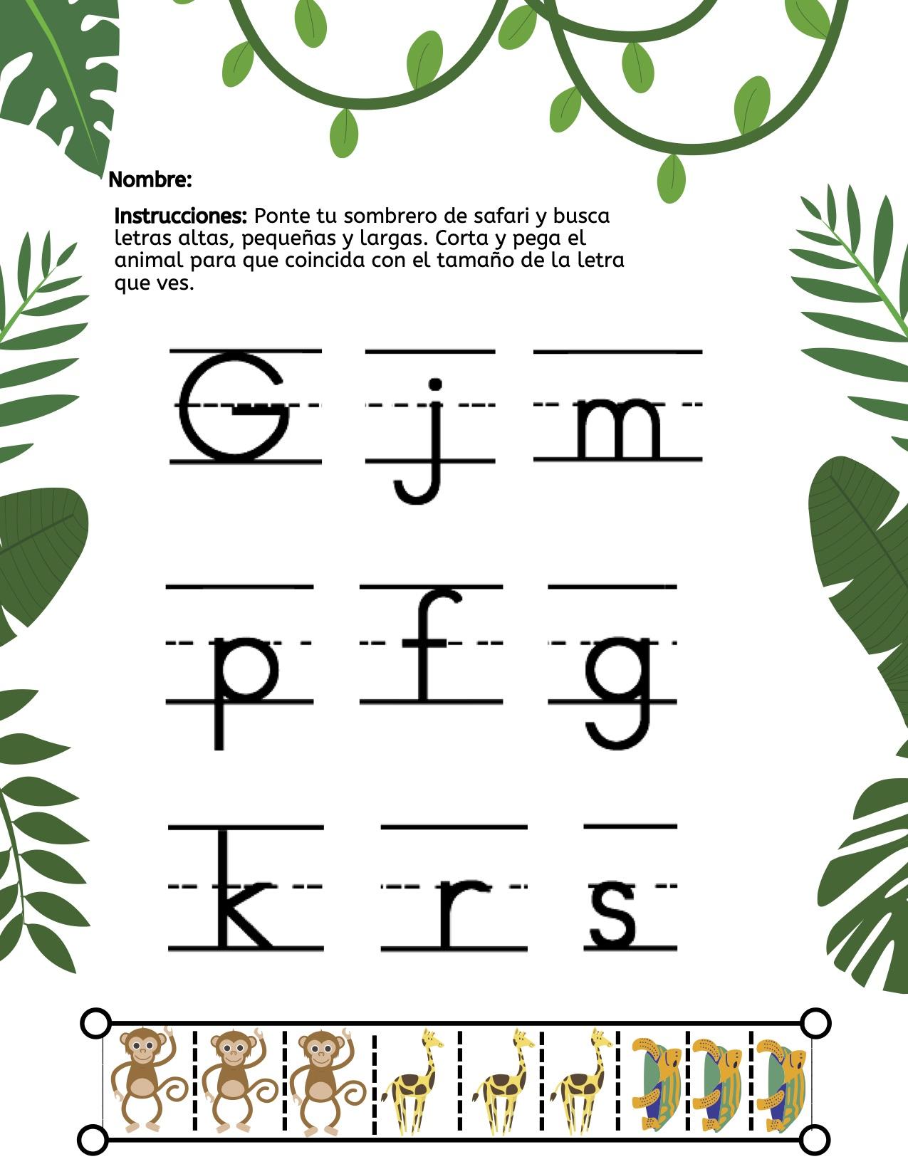 Spanish Cut Amp Paste Safari Letter Size Worksheet Kyu R