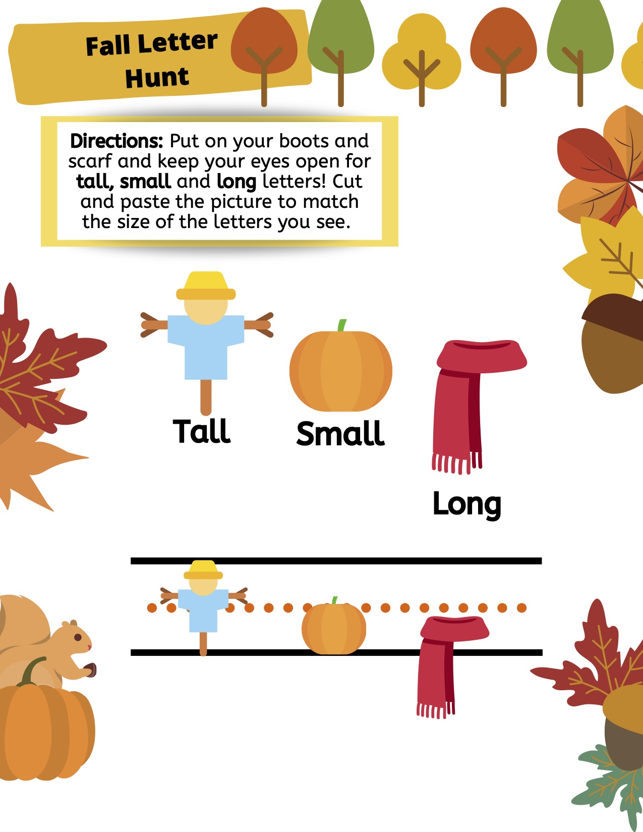 Festive Fall Letter Size Worksheet Kyu R A S T