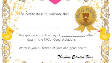 Photo of Free NICU Graduation Certificate – Full Color – Baby Animal Design