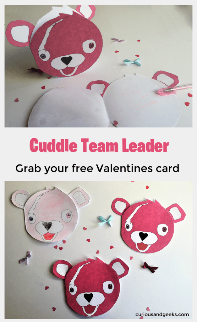 Grad you free printable and make these adorable Cuddle Team Leader Valentines card! They are really easy to make and the kids will love coloring and assembling them in particular if they are Fortnite lovers!