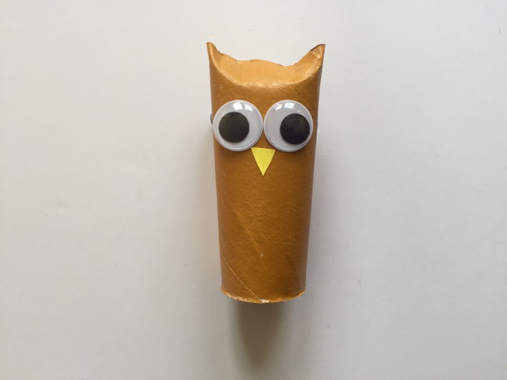 Toilet Paper Roll Owls - Description of step 4 of this tutorial - Fix the nose of the owl
