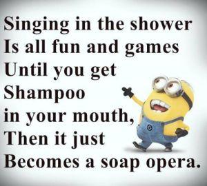minion singing in shower