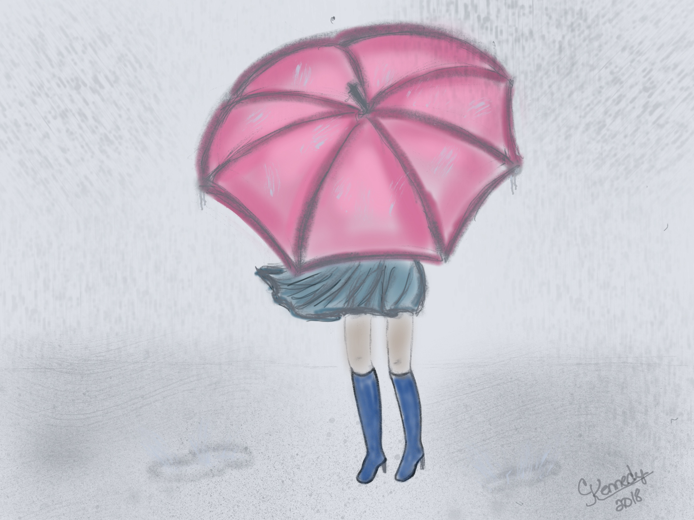 In todays original i stopped with a simple illustration of a girl fighting her umbrella during a rain storm with my ipad apple pencil and drawing app