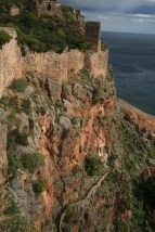 monemvasia fortress walls cliff