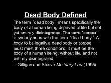 Dead Body Defined