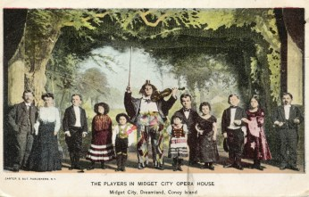 Postcard of Midget City Opera House, Dreamland, Coney Island, c.1907, from the Coney Island Museum collection.