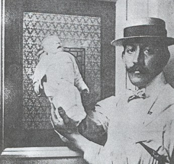 Martin Arthur Couney, neonatal pioneer, with one of the incubator babies, early 20th century.