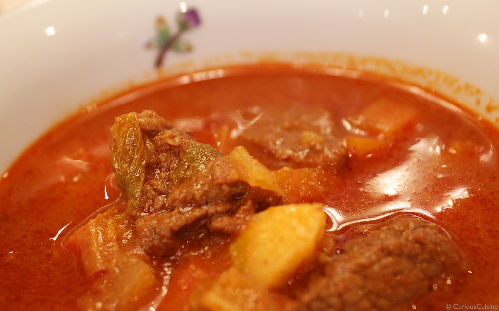 "Gulyas (goulash), a ""complete meal"" in a single bowl."