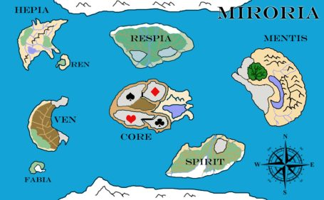 map of fictional world Miroria designed by Tizzy Brown