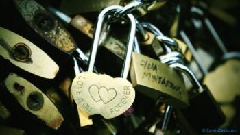 Parisiana Curves - Adorable love locks on pedestrian bridge over Seine