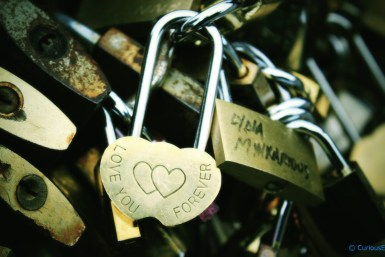 Parisiana Curves - Adorable love locks on pedestrian bridge over Seine