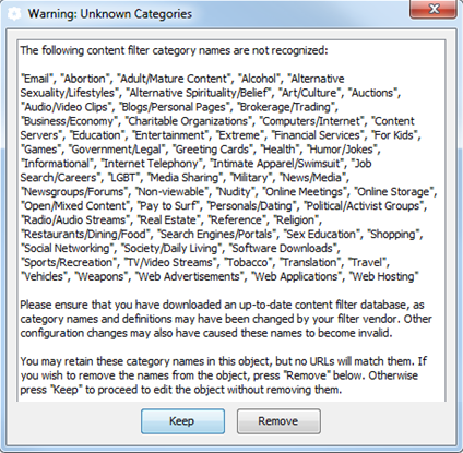 ProxySG VPM Policy Install Error - WebFilter Categories