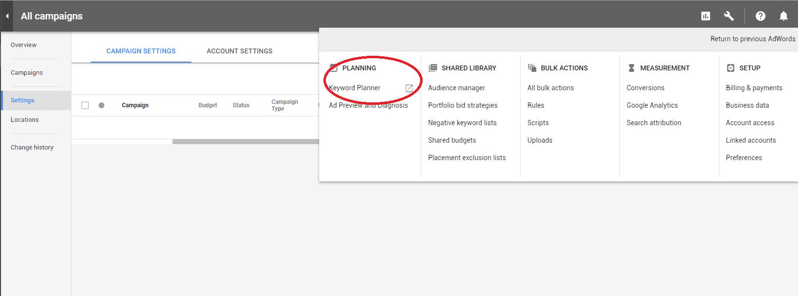 Google adwords access the keyword planner tool