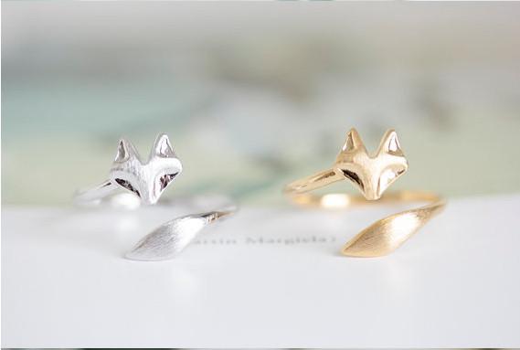 Gold or silver midi fox ring - so cute! #foxes #foxaddict #afflink