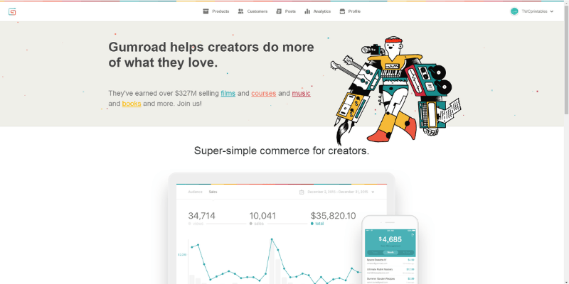 sell your ebook on gumroad