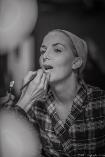 Julia in makeup chair - becoming famous