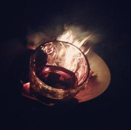 I grabbed this from my Instagram. It's not the best pic, but it makes me smell the delicious smoke of both the scotch and the bonfire.