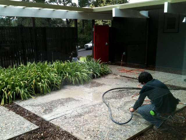 salvaging a cracked concrete patio
