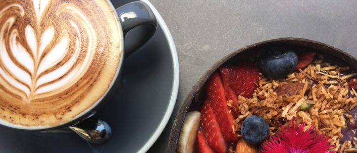 Image of Clandestinos Roasters cappuccino and acai bowl in post best coffee in Noosa
