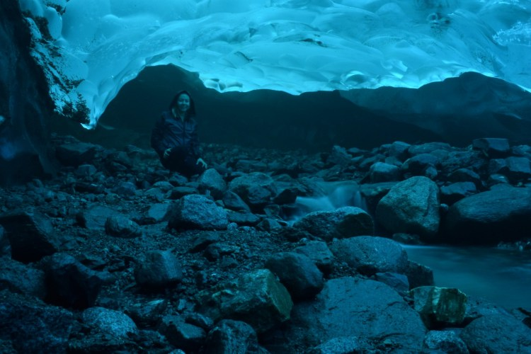 Image of Erin's ice cave adventures under the Mendenhall Glacier