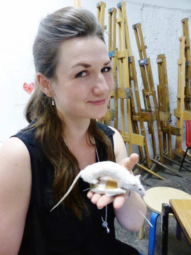Proud first-time taxidermist Carla Juniper with her stuffed mouse.