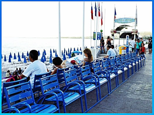 blue chairs on the promenade des anglais, english promenade